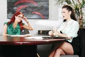 slaver redhead lesbo convinces her co-worker to