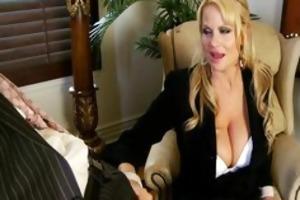 breasty boss sucks rod in her office