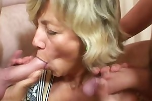 youthful fellows team fuck old mommy