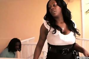 giant dark momma barbie banks jumps on juvenile