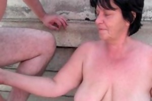 unsightly grandma with 1 inch nipples drilled