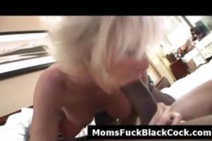 slutty golden-haired cougar sucks darksome