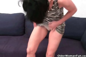 hairy granny has a wet spot in her pants