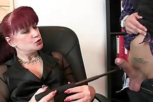 favourable men group-sex business lady