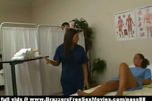 enjoyable dark brown nurse washes a patient