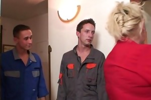 repairmen fuck busty grandma from one as well as