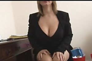 breasty aged blonde secretary disrobes and widens
