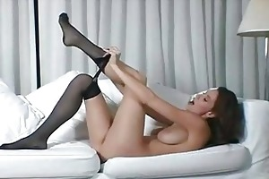 breasty brunette milf in dark hose