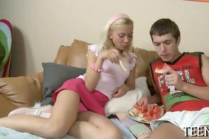 breasty excellent legal age teenager serves older