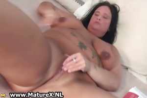 breasty lascivious housewife jerking off her love