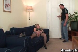 slutty granny takes jocks at one time