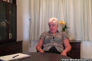 overweight granny in nylons plays with sex toy