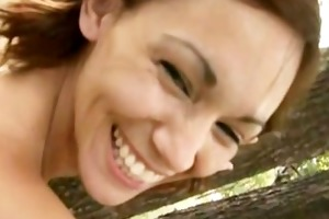 mamma acquires stripped in public park and teases
