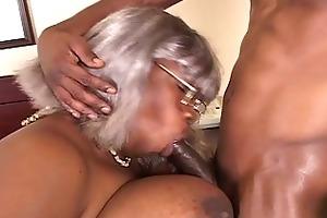 bbw dark grandma receives a piece of hunk pounder