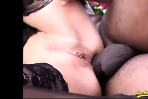 she is receives a massive dark knob unfathomable