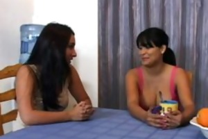 breasty latin chick and ally share pounder for