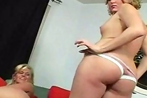 blond mommy and daughter disrobe bare and shows