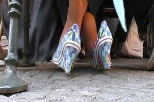 coed hosed feet activities of a aged lady