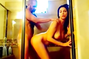 hawt brunette hair wife gangbanged in shower on