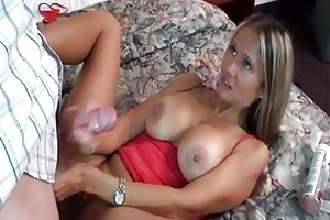 enormous chested blond d like to fuck in red