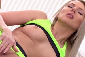 golden-haired yoga honey gets sexually excited
