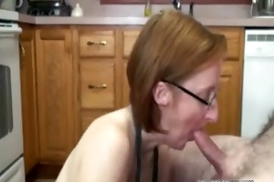 sexually excited layla in an apron and sucking