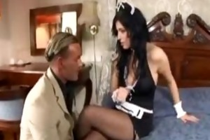 breasty maid has sex in fishnet nylons and high