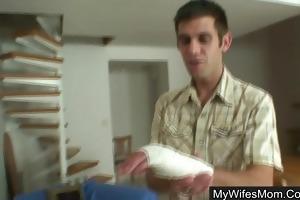 blond granny seduces son-in-law into hard sex