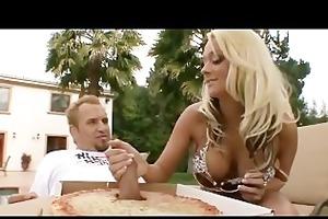 lewd big-tit sexy blond wench bonks pizza