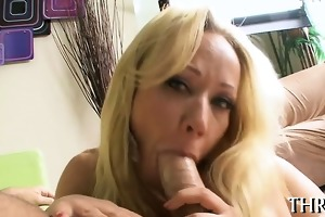 gagging hotty with his rod