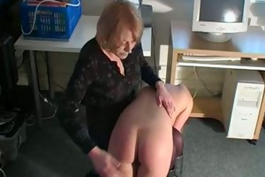 masturbating golden-haired acquires spanked by