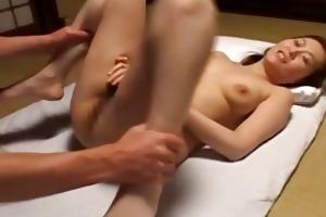 oriental lets a boy have a fun her hirsute twat