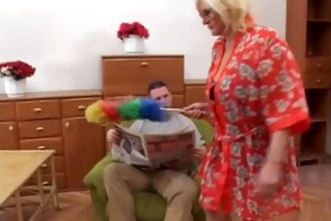 fat blond granny fucks younger guy