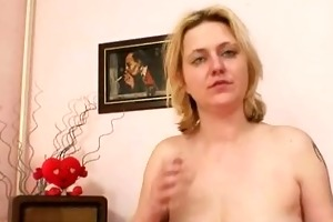 large tits dilettante milf plays with mambos and