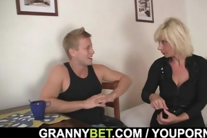 old blond rides her neighbour large ramrod