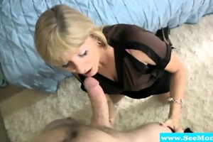 golden-haired older can engulfing on sausage