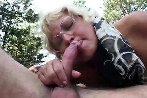 big tit older granny copulates