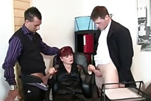 aged office bitch enjoys jocks