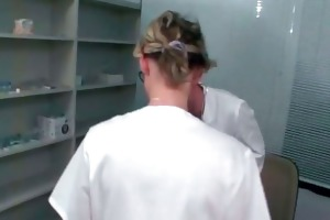 concupiscent mature golden-haired nurse receives