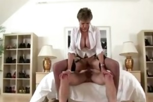 breasty aged brit receives a cumshot