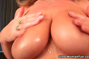 grandma with large titties finger copulates her