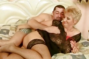 grandma in fishnet nylons acquires screwed