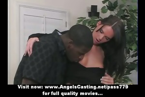 lengthy hair dark brown girl having interracial