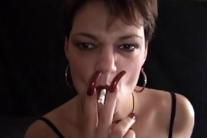 hawt older cougar with hot nails smokin taskmaster