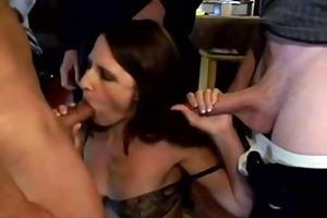 brunette hair wife bang