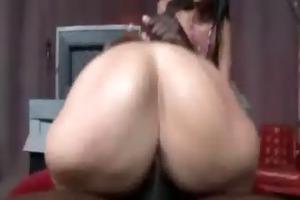 sarah jay, jiggly white booty rides black ramrod