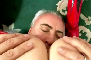aged guy has a wild time with a gal in nylons and