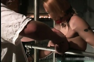 nastu blond playgirl is fastened and spanked