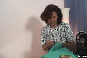 sewing granny enjoys riding youthful shlong