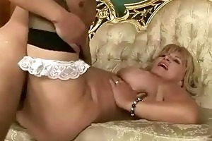breasty grandma receives drilled